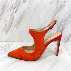 Zara- Orange Suedelike Heels Size 39 EU.